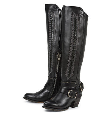 Ladies Western Black Leather Boots - LADIES BLACK STAR HYDRA WESTERN BLACK FASHION BOOTS 33621