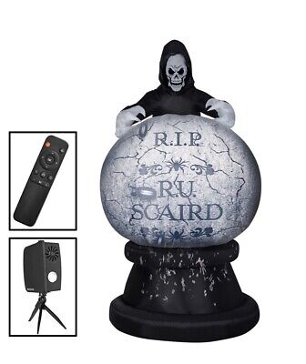 8.5 ft Living Projection Reaper Globe Halloween Inflatable Haunted House Videos.