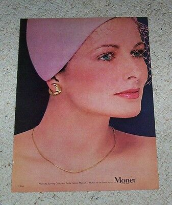 1979 ad page - Monet jewelry CRISTINA FERRARE earrings vintage PRINT ADVERTISING