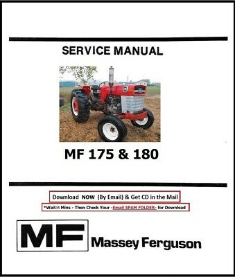 Mf Massey Ferguson Tractor 175 180 Shop Service Repair Manual Mf175 Mf180 Cd
