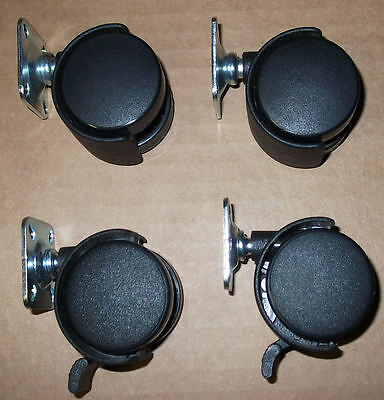 Set Of Four Dual Twin Wheel Plate Casters 1 12 2 Are Lockable