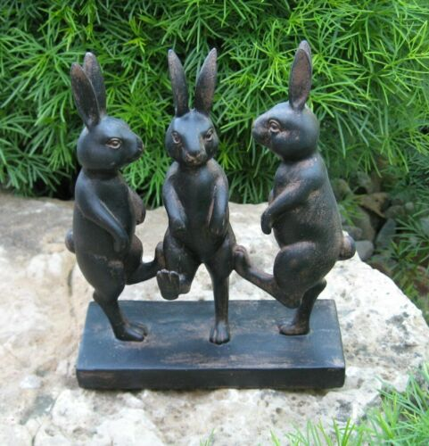 Dancing BUNNY Rabbit Sculpture*Primitive Home French Country Farmhouse Decor*NEW