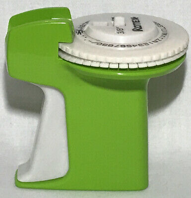 Vintage Rotex Label Maker Lime Green Color Uses 38 9.5mm Tape Dymo Labeler