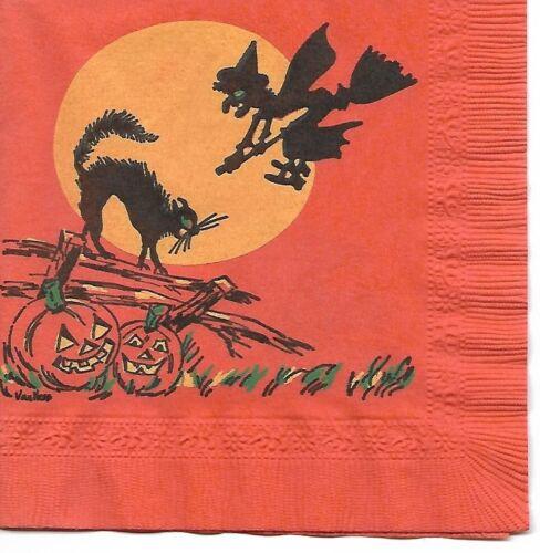 Vintage COCKTAIL Halloween Napkin ~ Witch On Broomstick, Black Cat, JOLs, Moon