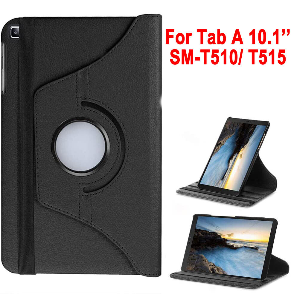 For Samsung Galaxy Tab A 10.1″ 2019 SM-T510/T515 PU Leather Case 360 Cover Stand Cases, Covers, Keyboard Folios