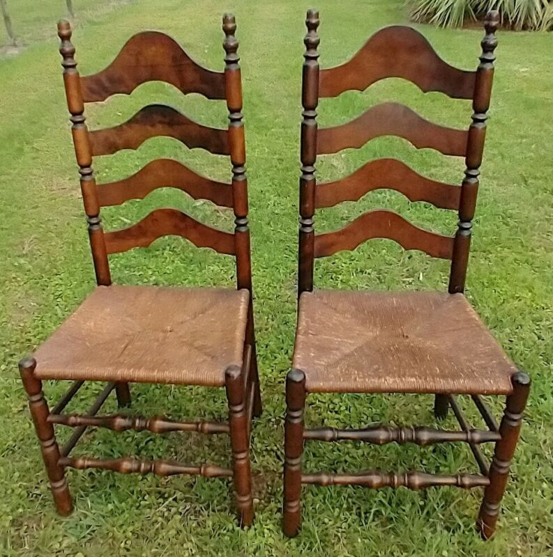 Antique Ladderback Side Chairs Rush Seat Set of 2 Dining Chairs Accent Chairs