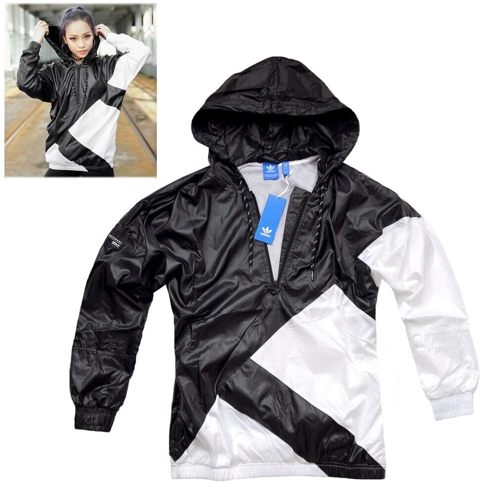 Adidas EQT Windbreaker Damen Windjacke Schlupfjacke Regenjacke Logo schwarz/weiß