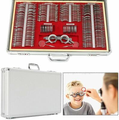 266pcs Optical Trial Lens Sets Optometry Kit Metal Rim Aluminum Case Trial Frame