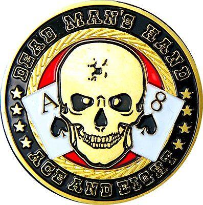 "Pokerguard Poker Card Guard ""Dead Man´s Hand"" echt vergoldet, Pokerzubehör"