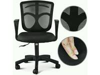 Popamazing Black Adjustable High Back Swivel Mesh Office Chair Headrest Mesh Armchair