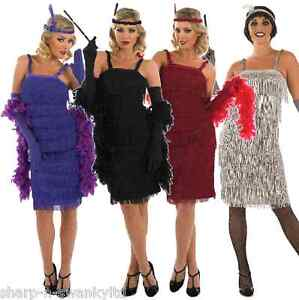 Ladies-Black-Red-1920s-30s-Flapper-Fancy-Dress-Costume-Outfit-UK-8-30-Plus-Size