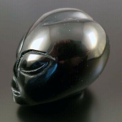 "2.4"" Obsidian Black Alien Skull, Unique Hand Carved Star Being Crystal Healing"