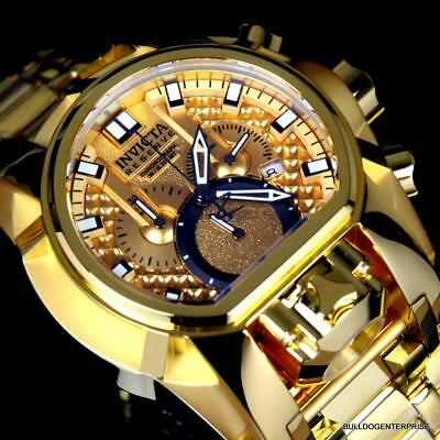 Invicta Reserve Bolt Zeus Magnum Swiss 18kt Gold Plated Dual Dial 52mm Watch New