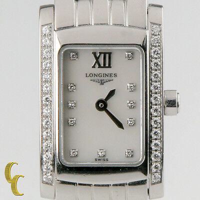 Longines Women's Stainless Steel Dolce Vita Quartz Watch Diamond Dial & Bezel