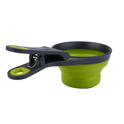 Foldable Silicone Pet Dog Sealing Clip Collapsible Measuring Cup Food Scoop EB