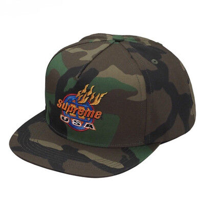 New Supreme Fire USA 6-Panel Cap Hat Camp Woodland Camo Fall Winter 2017 FW17