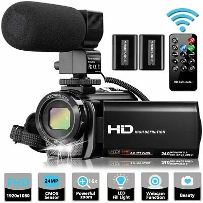 Video Camera Camcorder With Microphone, Videosky Fhd 1080P 30Fps 24Mp Vlogging