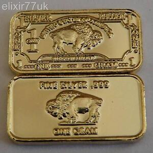 1 GRAM PURE 999 FINE SOLID SILVER + 24k GOLD BUFFALO BULLION BAR IN