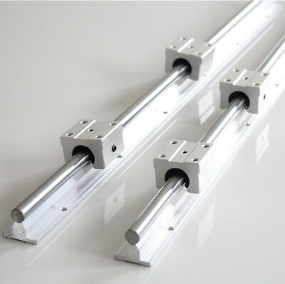 2pcs 12mm Sbr12 L1000mm Fully Supported Linear Rail Shaft Rod 4x Sbr12uu Block