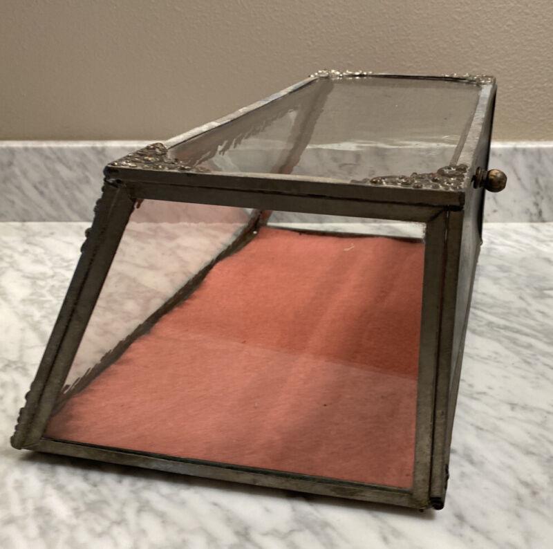 Antique Decorative tin slanted Display Case Showcase