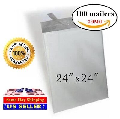 St Shipmailers - 100 24x24 Poly Mailer Self Sealing Shipping Envelopes Mail Bags