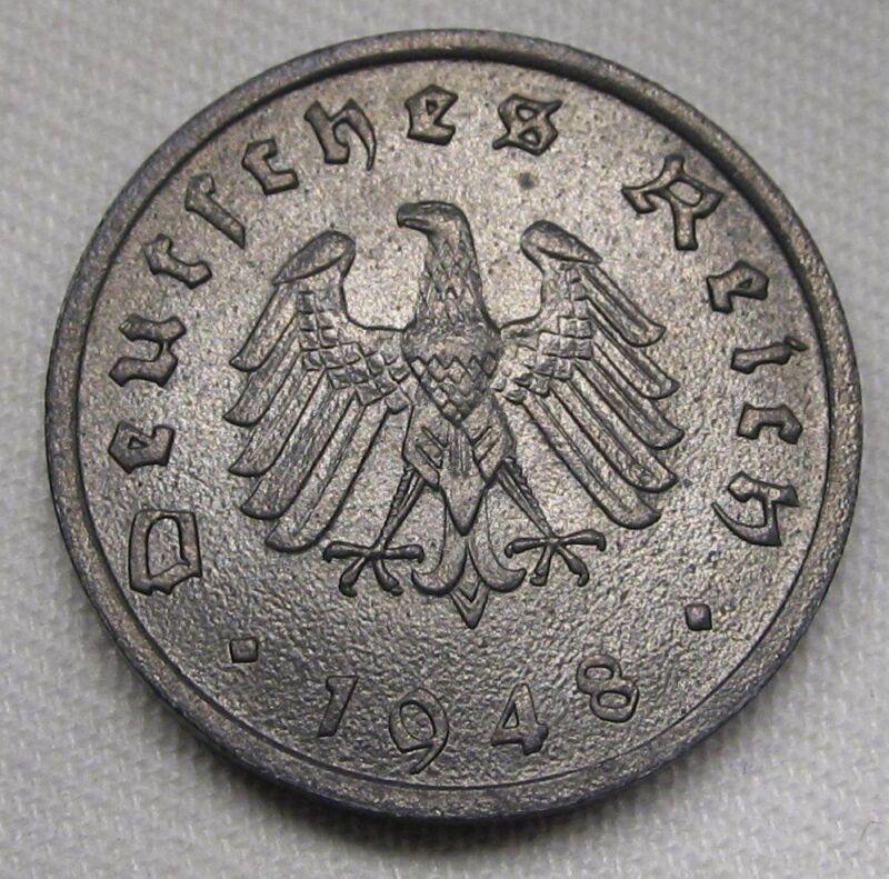 1948-F Germany 10 Reichspfennig VCH+ UNC Coin AD897