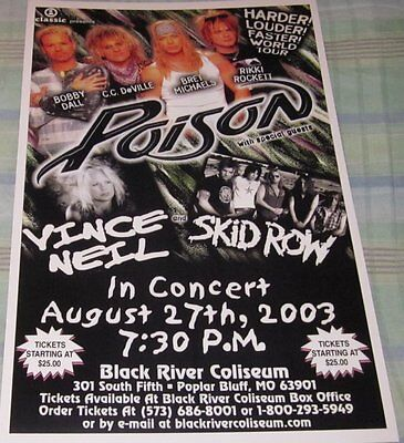 POISON/SKID ROW/VINCE NEIL TRIPLE BILL REPLICA CONCERT POSTER W/PROTECTIVE SLEEV