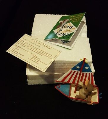 """New Charming Tails by Fitz and Floyd Signed """"Sailing By To Say Hi"""" Item: 98/424"""