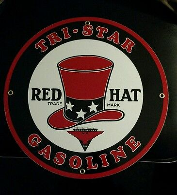"RED HAT Gasoline Gas / Oil Porcelain Advertising Sign...~12"""