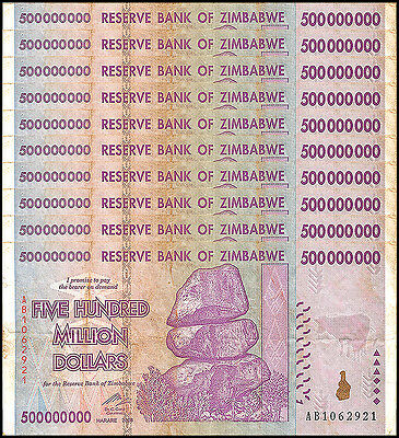 Zimbabwe 500 Million Dollars X 10 Pieces (PCS), AB/2008,Circulated,Used,Trillion