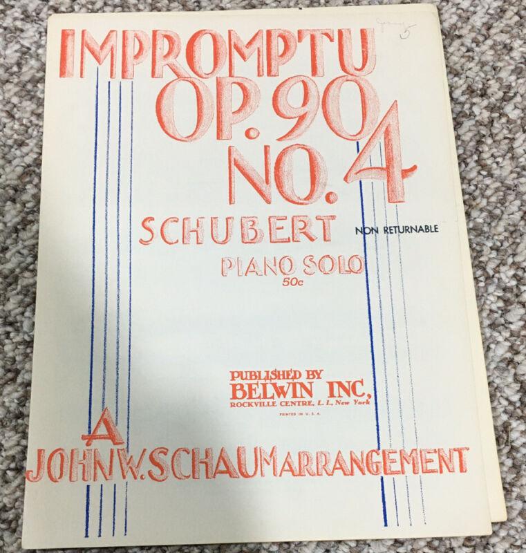 Impromptu Op. 90 No. 4 Franz Schubert 1944 Piano Sheet Music Schaum