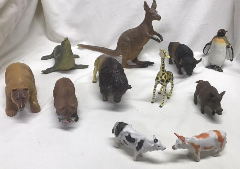 Lot Of 11 Animal Figures AAA Schleich Papo Safari Terra Kangaroo American Bison
