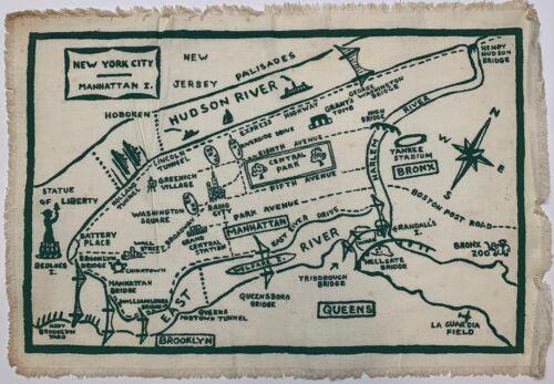 Vintage 1950 NEW YORK CITY Manhattan PICTORIAL MAP Screenprint Linen Placemat