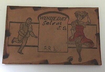 Early 1900s ~ Leather Postcard ~ Salem S.D. ~ Windy Day Man's Hat Woman's Skirt