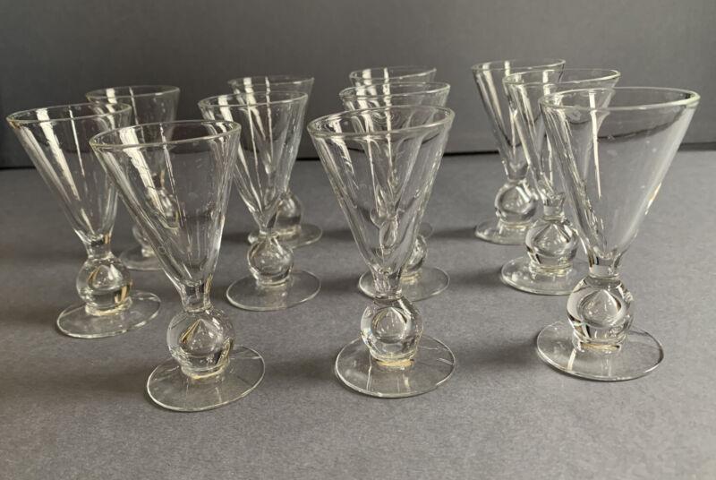 "fine set 11x Steuben type crystal glass teardrop cordial glasses 3.33"" Art Deco"