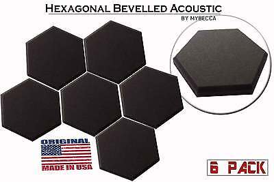 6 Pack Hexagon (Hexagonal) Acoustic Foam Studio Soundproofing Foam Tiles 6X6x1""