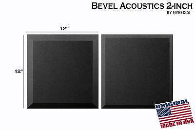 "12 PACK Soundproofing Acoustic BEVEL Foam Tiles Wall Panels 12"" X 12"" X 2 USA"