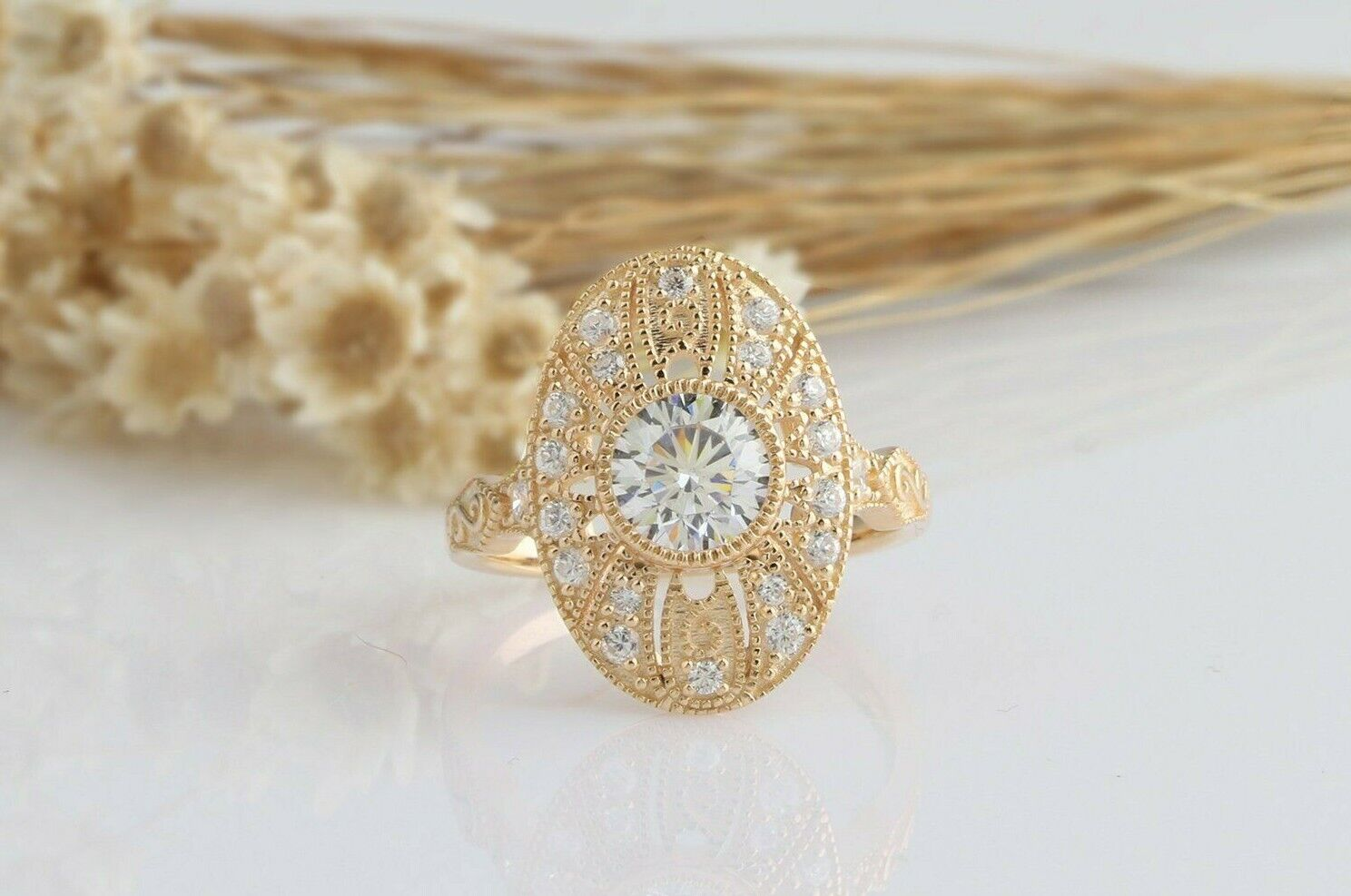 1.42 Tcw Vintage Style Round Cut Engagement Ring in Yellow G