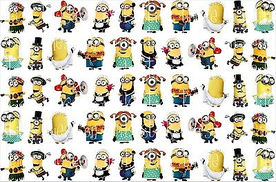 50 MINIONS DESPICABLE ME NAIL ART WATER TRANSFERS STICKERS DRESS UP  #6 (Despicable Me Dress Up)