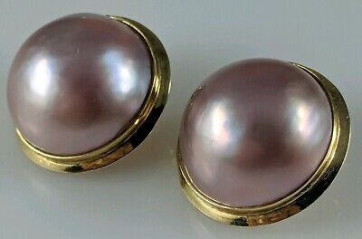 Gorgeous 14K 16MM Mabe Pink Pearl Earrings Clip On 6 grams Fine Estate Lot 585  16mm Mabe Pearl
