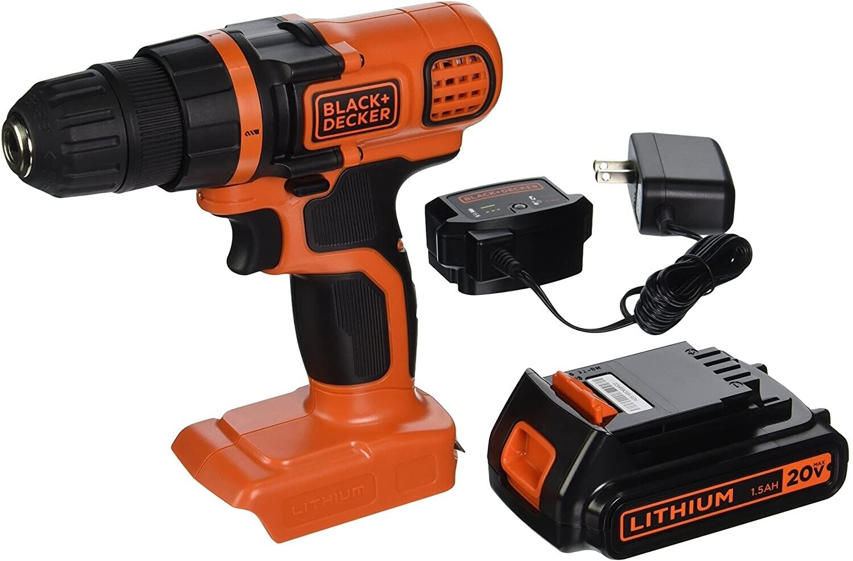 BLACK+DECKER 20V Max Power Cordless Drill Kit Driver Tool Li