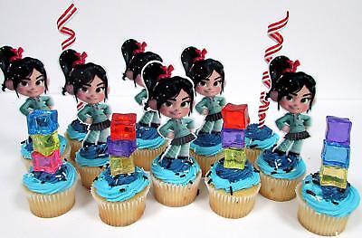 Cupcake Accessories (Wreck-It Ralph Birthday Cupcake Topper Set w Racer Vanellope & Accessories)