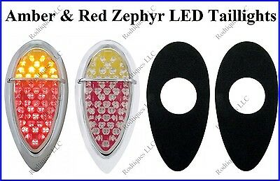 Flat Mount Red & Amber Zephyr LED Taillights Brake Tail Turn Signal F39ARZ - 4