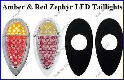 Flat Mount Red & Amber Zephyr LED Taillights Brake Tail Turn Signal F39ARZ - 3