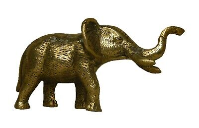 Old Brass Handcrafted Fine Quality Elephant Figure Animal Statue Rich Patina