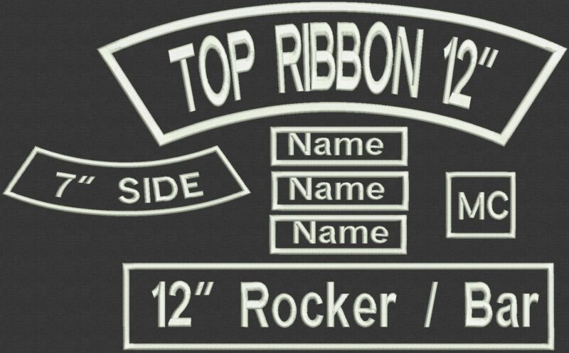 """7 Pieces Custom Embroidered Rocker Name Patch Set Biker Motorcycle Tag Badge 12"""""""