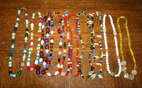 10 vintage 1960s CZECHOSLOVAKIA GLASS Mardi Gras Beads Clasp Necklaces