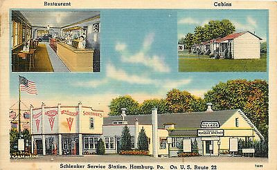 Linen Postcard; Schlenker Service Gas Station, Hamburg PA, US Route 22, Unposted