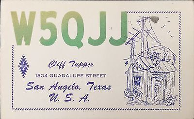 1957 QSL Ham Radio Card W5QJJ San Angelo Texas USA Illustrated Glitter Letters