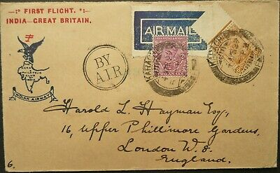 INDIAN AIRWAYS 4 APR 1929 FIRST FLIGHT AIRMAIL COVER FROM KARACHI TO LONDON, GB